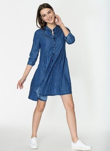 Loves You A Shape Tencel Düğmeli Denim Garnili Elbise Mavi